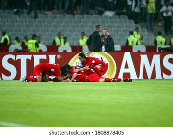 Istanbul, TURKEY - May 25, 2005:  Liverpool players celebrate after winning  during the UEFA Champions League final 2004/2005 AC Milan v Liverpool at the Ataturk Olympic Stadium.