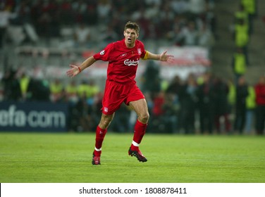 Istanbul, TURKEY - May 25, 2005:  Steven Gerrard celebrates scoring 3-1  during the UEFA Champions League final 2004/2005 AC Milan v Liverpool at the Ataturk Olympic Stadium.