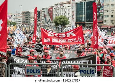 ISTANBUL, TURKEY - MAY 25, 2014: Protests against subcontractor system after Soma mine disaster