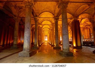 ISTANBUL, TURKEY - MAY 25 2018 Underground Basilica Cistern, also called the Yerebatan Saray or Yerebatan Sarnici, Istanbul