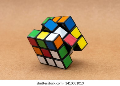 ISTANBUL - TURKEY - MAY 25, 2019: Rubik's cube on the craft background. Rubik's Cube invented by a Hungarian architect Erno Rubik in 1974.