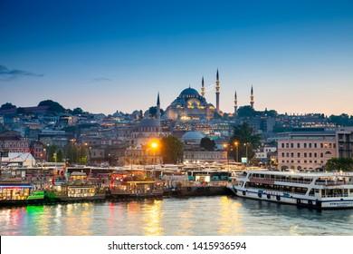 Istanbul, Turkey - May 25, 2019 : Beautiful night view in Istabul, Turkey.