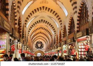 ISTANBUL, TURKEY - MAY 26, 2018: People shopping at Spice Bazaar. The Spice Bazaar is one of the oldest bazaar in Istanbul.
