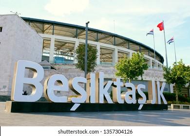 ISTANBUL, TURKEY - MAY 26, 2018: BESIKTAS VODAFONE PARK STADIUM. The stadium is the home of Besiktas JK Football Club. Besiktas JK is Turkish football club in Istanbul. Turkey.
