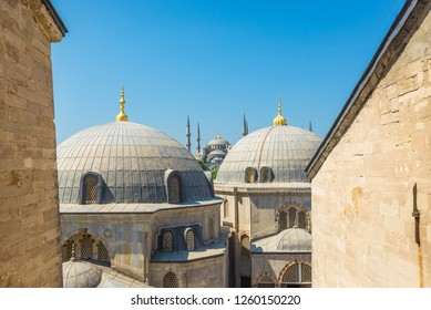 Istanbul, Turkey - May 27, 2014: A view of the Sultan Ahmed Mosque (Blue Mosque) from a window in Hagia Sophia (Ayasofya)