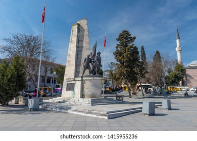 ISTANBUL, TURKEY, MAY 29, 2019: Monument for famous Ottoman Navy Admiral Barbaros Hayrettin Pasa at Besiktas town square, Istanbul, Turkey.