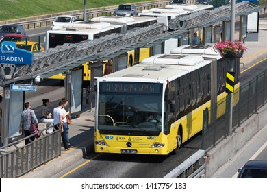 ISTANBUL, TURKEY - MAY 29, 2019: Metrobus, a part of public transportation system, eases the traffic in Istanbul. Istanbul public transport, vehicle called Metrobus goes own way with non traffic.