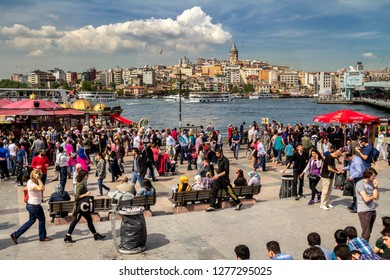 istanbul, Turkey, May 3 2014: Crowd of people outside in Eminonu Square