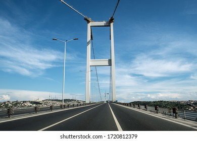 Istanbul, Turkey - May 3, 2020: Turkish government announced a curfew to prevent the spread of the epidemic COVID-19 caused by the novel coronavirus. Bosphorus Bridge seems empty