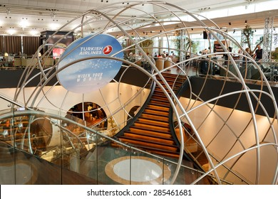 ISTANBUL, TURKEY - MAY 30, 2015: Interior view of the Turkish Airlines Business Class airport Lounge at Istanbul Ataturk Airport Terminal, this part is the new extended area of the lounge.