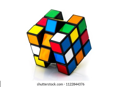 ISTANBUL - TURKEY - MAY 30, 2018: Rubik's cube on the black background. Rubik's Cube invented by a Hungarian architect Erno Rubik in 1974.