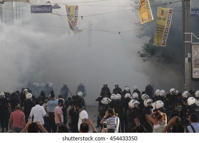 ISTANBUL, TURKEY - May 31 2013: Protestors clash with Turkish riot policemen on the way to Taksim Square in Istanbul.