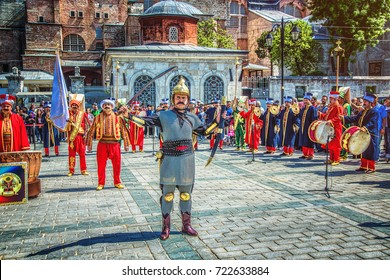 ISTANBUL, TURKEY - MAY 5, 2017: The performance of the military orchestra of the janissary music Mehter at Sultanahmet square