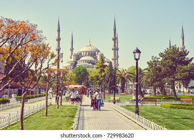 ISTANBUL, TURKEY - MAY 5, 2017: The Sultan Ahmed Mosque is one of the main attractions of the city