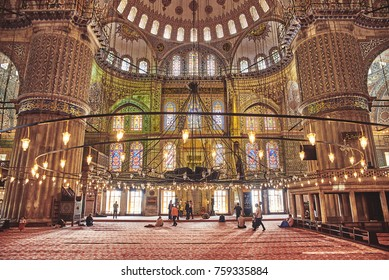 Istanbul, Turkey - May 5, 2017:  The Sultan Ahmed Mosque or Blue Mosque is a historic mosque. Interior of the mosque