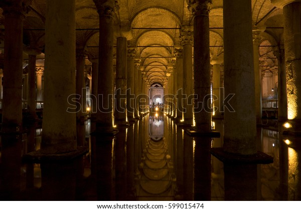Istanbul, Turkey - May 6, 2016: Basilica Cistern (Turkish: Yerebatan) in Istanbul. It is capable of holding 80,000 cubic metres of water. The ceiling is supported by a forest of 336 marble columns.