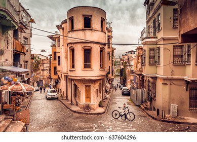 ISTANBUL, TURKEY - May 6, 2017:Vintage view of Traditional stone street and houses at Fener District at balat area.Street view in historical Balat district. Balat is popular attraction in Istanbul.