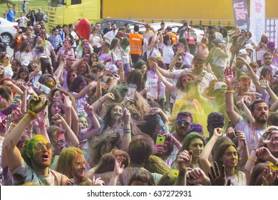 ISTANBUL, TURKEY - MAY 7, 2017: Crowd of happy young people have fun in colors during festival of colors Colorsky, Colorfest, Holifest, Holi Festival
