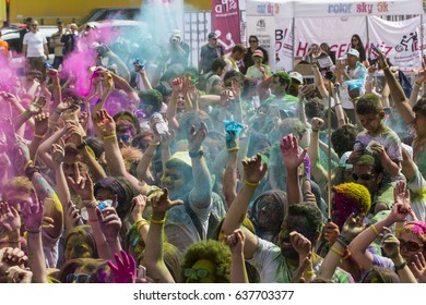 ISTANBUL, TURKEY - MAY 7, 2017: Crowd of happy young people have fun in colors during festival of colors Colorsky, Colorfest