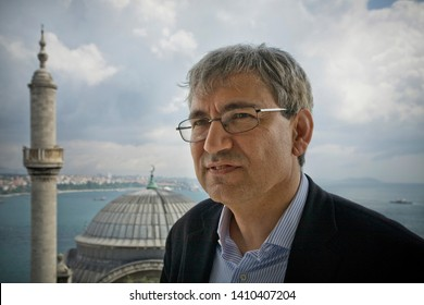 ISTANBUL, TURKEY - MAY 8, 2008:  Portrait of the author Orhan Pamuk in his office. He is a prominent Turkish novelist, screenwriter, academic and recipient of the 2006 Nobel Prize in Literature.