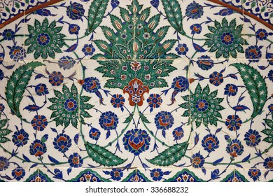 ISTANBUL, TURKEY - MAY 9 , 2007 : Ancient tile pattern on ceramic wall in istanbul Archeology Museum