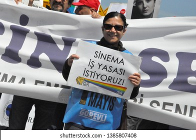 ISTANBUL, TURKEY- At the May Day rally in Istanbul, the filmmakers expressed the demand for cinema labor law. The photo was taken, 1stMay, 2019