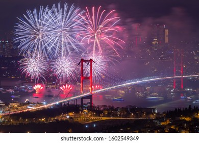 ISTANBUL, TURKEY. New Year 2020 Celebrations Around the Istanbul. Fireworks with Istanbul Bosphorus Bridge (15th July Martyrs Bridge). Camlica Hill very nice view Uskudar, Istanbul when time 00:00