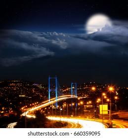 Istanbul Turkey Nights, Istanbul Bosporus Bridge with clouds and moon