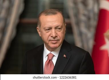 Istanbul, Turkey - Nov 03, 2018: Turkish President Recep Tayyip Erdogan during a meeting with President of Ukraine Petro Poroshenko