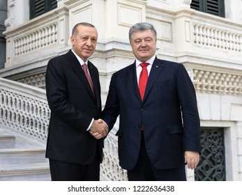 Istanbul, Turkey - Nov 03, 2018: Turkish President Recep Tayyip Erdogan during a meeting with President of Ukraine Petro Poroshenko