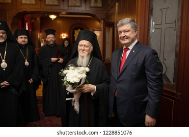 Istanbul, Turkey - Nov 03, 2018: Ecumenical Patriarchate and His All-Holiness Ecumenical Patriarch Bartholomew during a meeting with President of Ukraine Petro Poroshenko