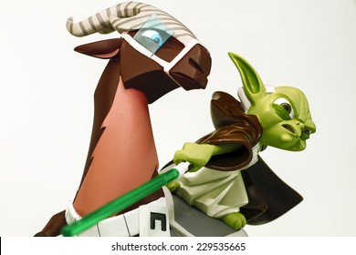"Istanbul, Turkey - November 01, 2014: Unforgettable hero of the famous Star Wars movie series ""Yoda on Kybuck"" named figure. Trademark is Gentle Giant Ltd. and Lucasfilm Ltd."