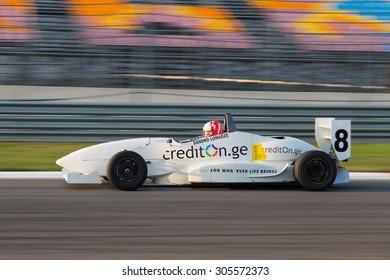 ISTANBUL, TURKEY - NOVEMBER 02, 2014: Sandro Lomadze drives Formula Alfa Car in Istanbul Park Circuit