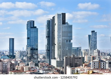 ISTANBUL, TURKEY- NOVEMBER 03, 2018: panoramic view from the business financial  and economic city center. Trump towers, Torun center, Quasar building and other Istanbul skyscrapers. Şişli district.