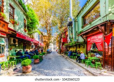 Istanbul, Turkey - November 05, 2017 : Kuzguncuk street view in Istanbul. Kuzguncuk is historical district of Istanbul.