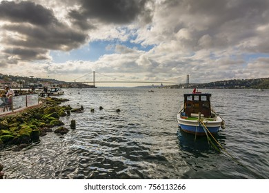 Istanbul, Turkey - November 05, 2017 : Cengelkoy coast view in Istanbul. Istanbul is populer tourisy destination in Turkey.