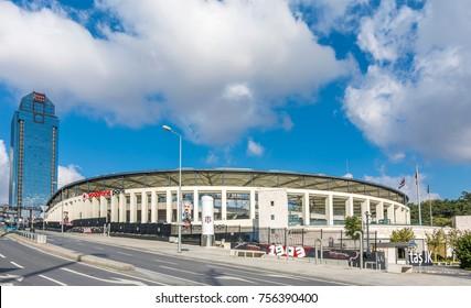 Istanbul, Turkey - November 05, 2017 : Besiktas Soccer Team Vodafone stadium view in Istanbul. Besiktas is one of the best teams in Turkish League.