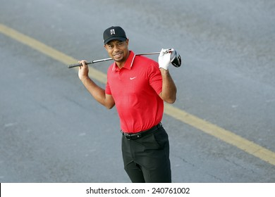 ISTANBUL, TURKEY - NOVEMBER 05: The portrait of famous American golfer Tiger Woods in Istanbul on November 05, 2013 in Istanbul, Turkey.