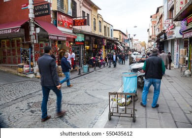 ISTANBUL, TURKEY - NOVEMBER 07, 2016: Everyday life on the market street near Grand Bazaar in Istanbul. Turkey.