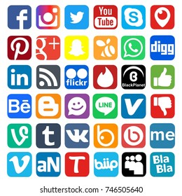 Istanbul, Turkey - November 1, 2017: Collection of popular social media logos printed on paper: Facebook, Instagram, Youtube, Vine, Badoo and others.