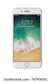Istanbul, Turkey- November 1, 2017: The new Apple smartphone iPhone 8 Plus Fround View with Home Screen isolated on white