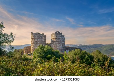 Istanbul, Turkey - November 10, 2013: Ruins of Yoros Castle (Yoros Kalesi), also known as Genoese Castle, an ancient Byzantine castle at the confluence of Bosphorus and Black Sea in Anadolu Kavagi