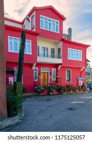 Istanbul, Turkey - November 10, 2013: Pink house at Anadolu Kavagi