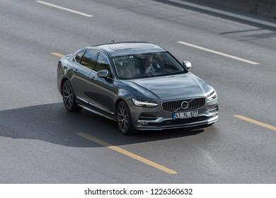 ISTANBUL, TURKEY - NOVEMBER 10, 2018: Volvo S90 rides on the road.