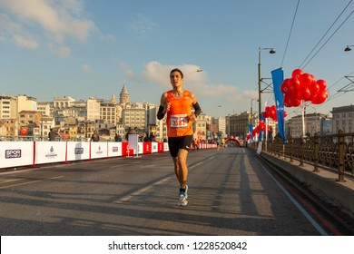 Istanbul, Turkey - November 11, 2018 :  ''Vodafone 40th. Istanbul Marathon'' held today.Thousands of participant start running from the Bosporus bridge and then passed Galata bridge in Istanbul.