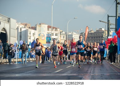 Istanbul, Turkey - November 11, 2018 :  '' Vodafone  40th.Istanbul Marathon'' held today.Thousands of participant start running from the Bosporus bridge and then passed Galata bridge in Istanbul.
