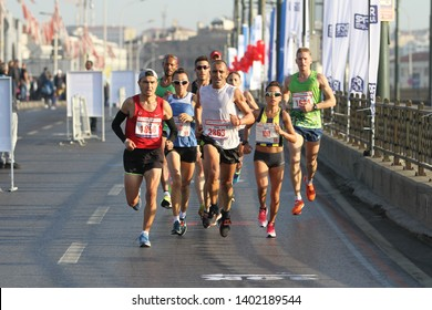 ISTANBUL, TURKEY - NOVEMBER 11, 2018: Athletes running in 40. Istanbul marathon which includes two continents in one race. Marathon starts on the Asian side and finishs in European side of Istanbul.