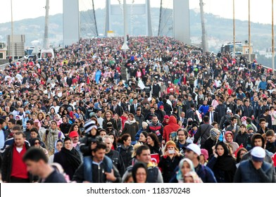 ISTANBUL, TURKEY - NOVEMBER 11: Competitors cross the Bosphorus Bridge that links Istanbul's European and Asian side during the 34th annual Euroasia Marathon on November 11, 2012 in Istanbul, Turkey.