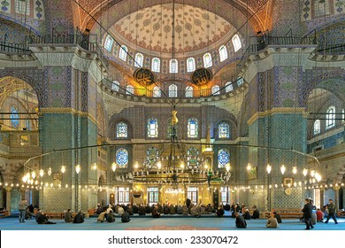 ISTANBUL, TURKEY - NOVEMBER 12, 2014: Interior of Yeni Mosque (New Mosque). Yeni Mosque is an Ottoman imperial mosque located in the Eminonu quarter, it was built in 1597-1663 and inaugurated in 1665.
