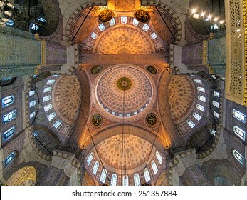 ISTANBUL, TURKEY - NOVEMBER 12, 2014: Ceiling painting of Yeni Mosque. Yeni Mosque is an Ottoman imperial mosque located in the Eminonu quarter, it was built in 1597-1663 and inaugurated in 1665.